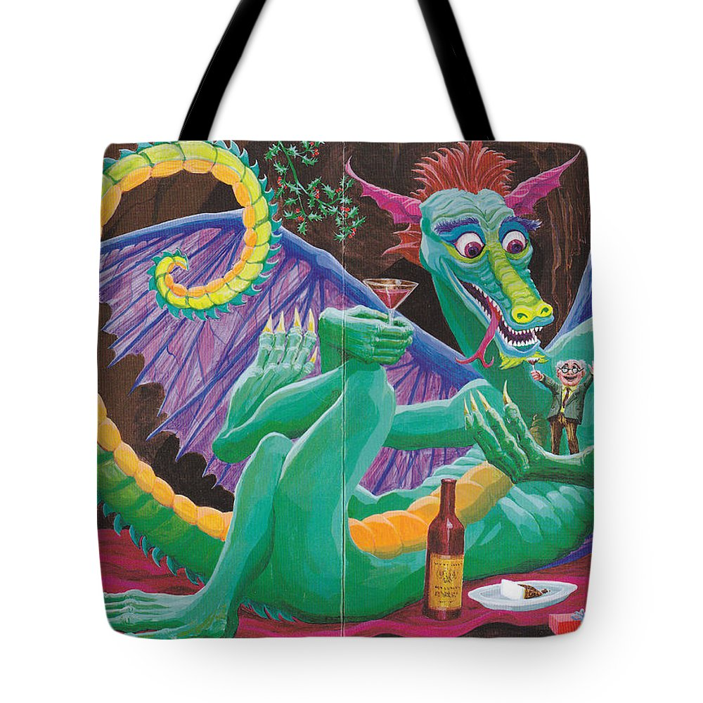 Tote Bag featuring the drawing Dragon Sups by Charles Cater