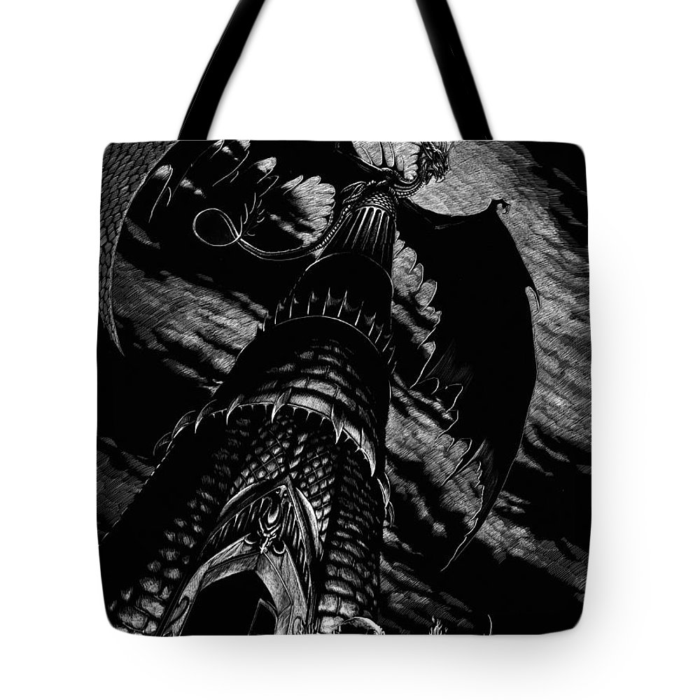 Dragon Tote Bag featuring the drawing Dragon Tower by Stanley Morrison