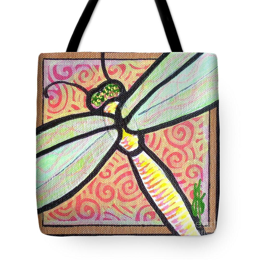 Dragonfly Tote Bag featuring the painting Dragonfly Fantasy 3 by Jim Harris