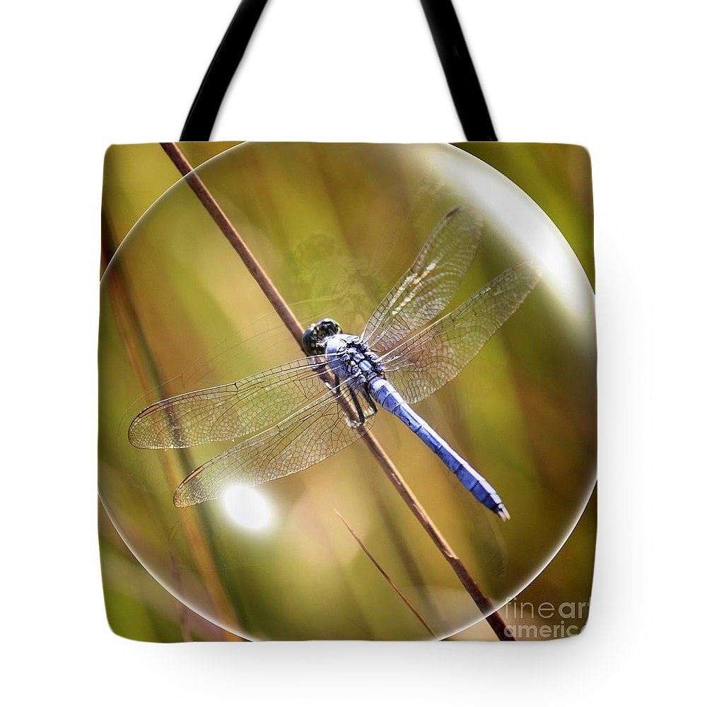 Dragonfly Tote Bag featuring the photograph Dragonfly In A Bubble by Carol Groenen