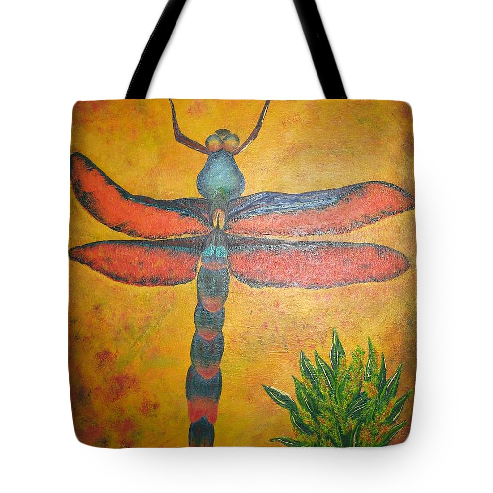 Nature Tote Bag featuring the painting Dragonfly In Flight by Debbie Levene
