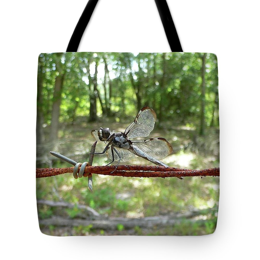 Dragonfly Tote Bag featuring the photograph Dragonfly On Barbed Wire by Al Powell Photography USA