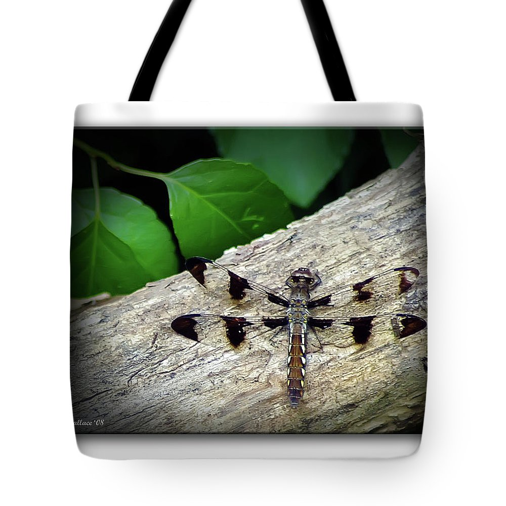 2d Tote Bag featuring the photograph Dragonfly On Log by Brian Wallace