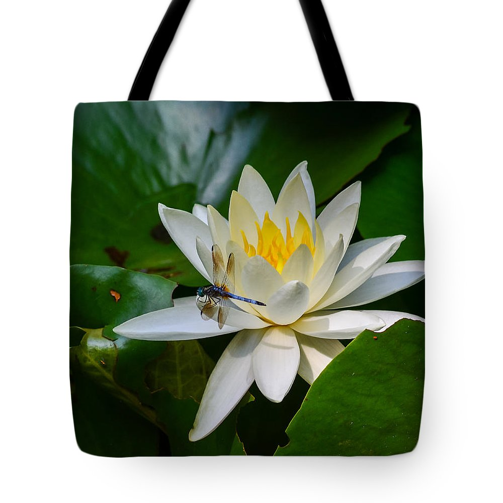 Dragonfly Tote Bag featuring the photograph Dragonfly On Waterlily by Allen Sheffield