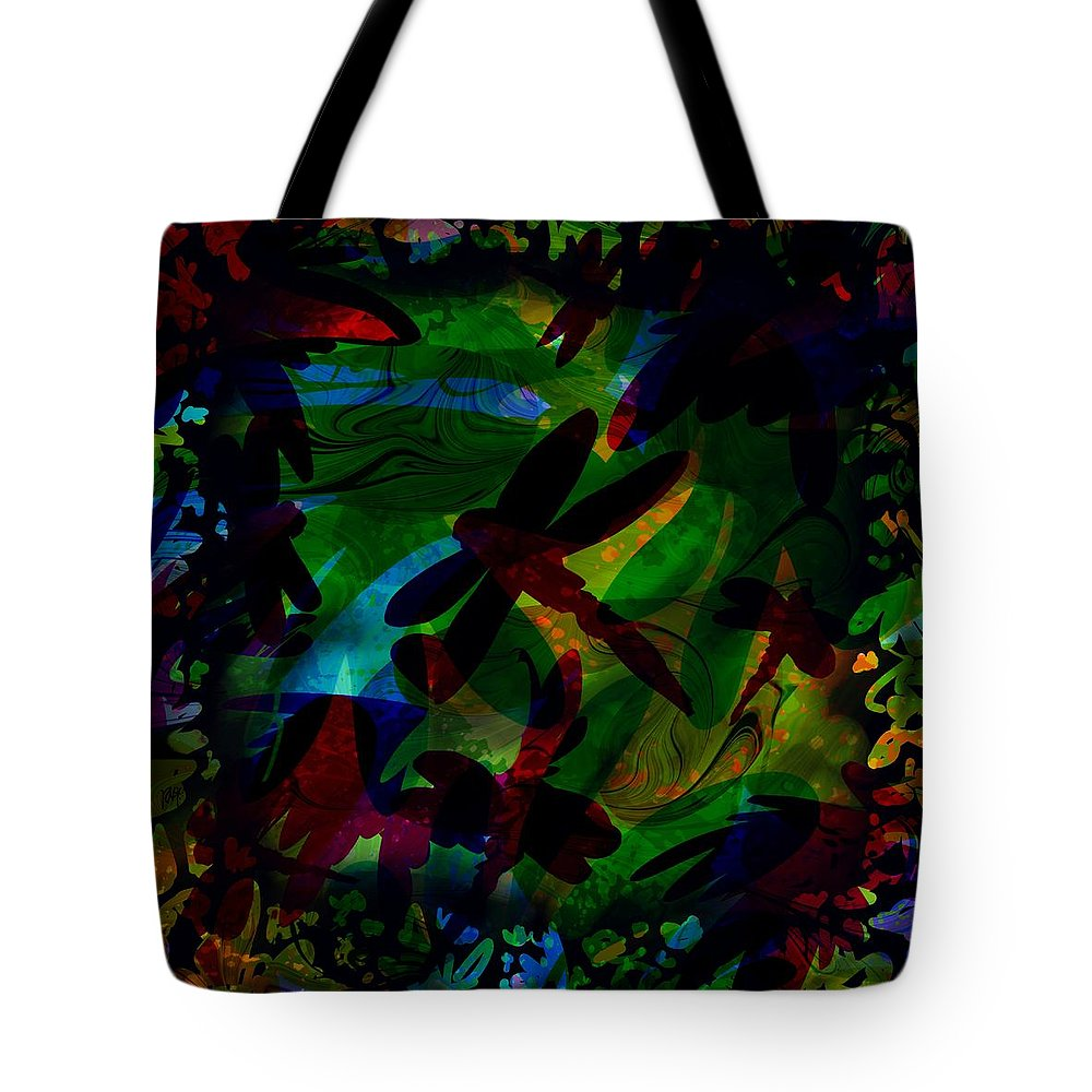 Abstract Tote Bag featuring the digital art Dragonfly by William Russell Nowicki
