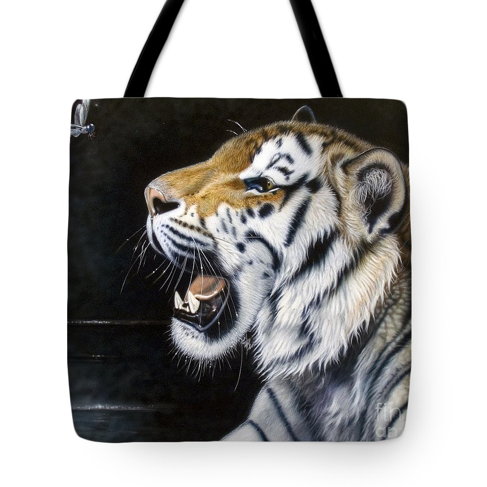 Tiger Tote Bag featuring the painting Dragonfly by Sandi Baker