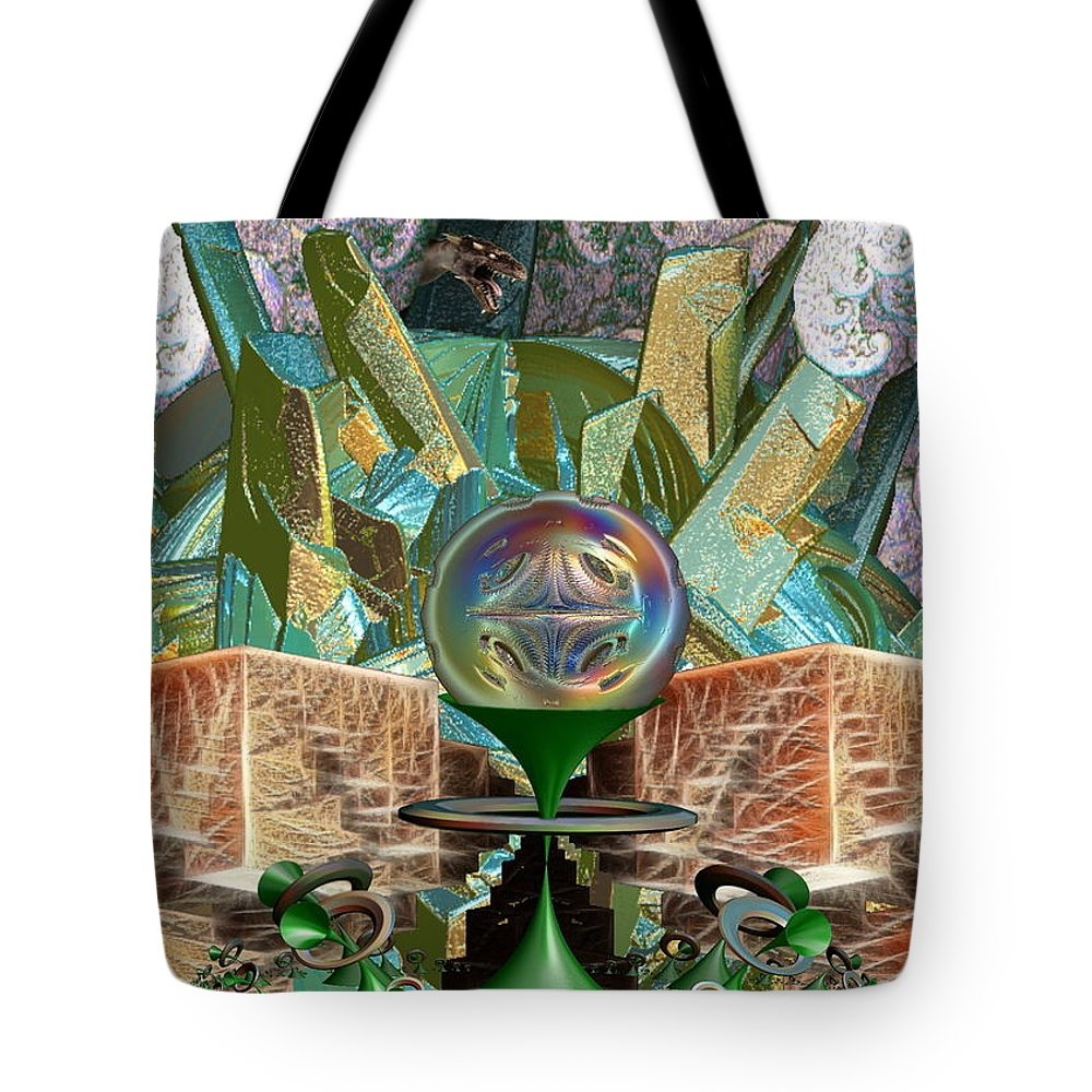 Futurist Tote Bag featuring the digital art Dragon's Treasure by Bad Monkey