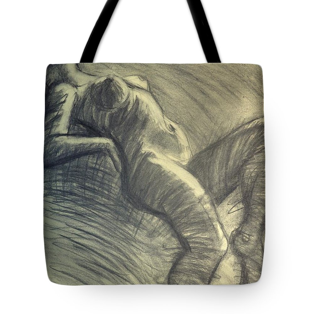 Www.carmentyrrell.co.uk Tote Bag featuring the painting Dramatic 5 - Female Nude by Carmen Tyrrell