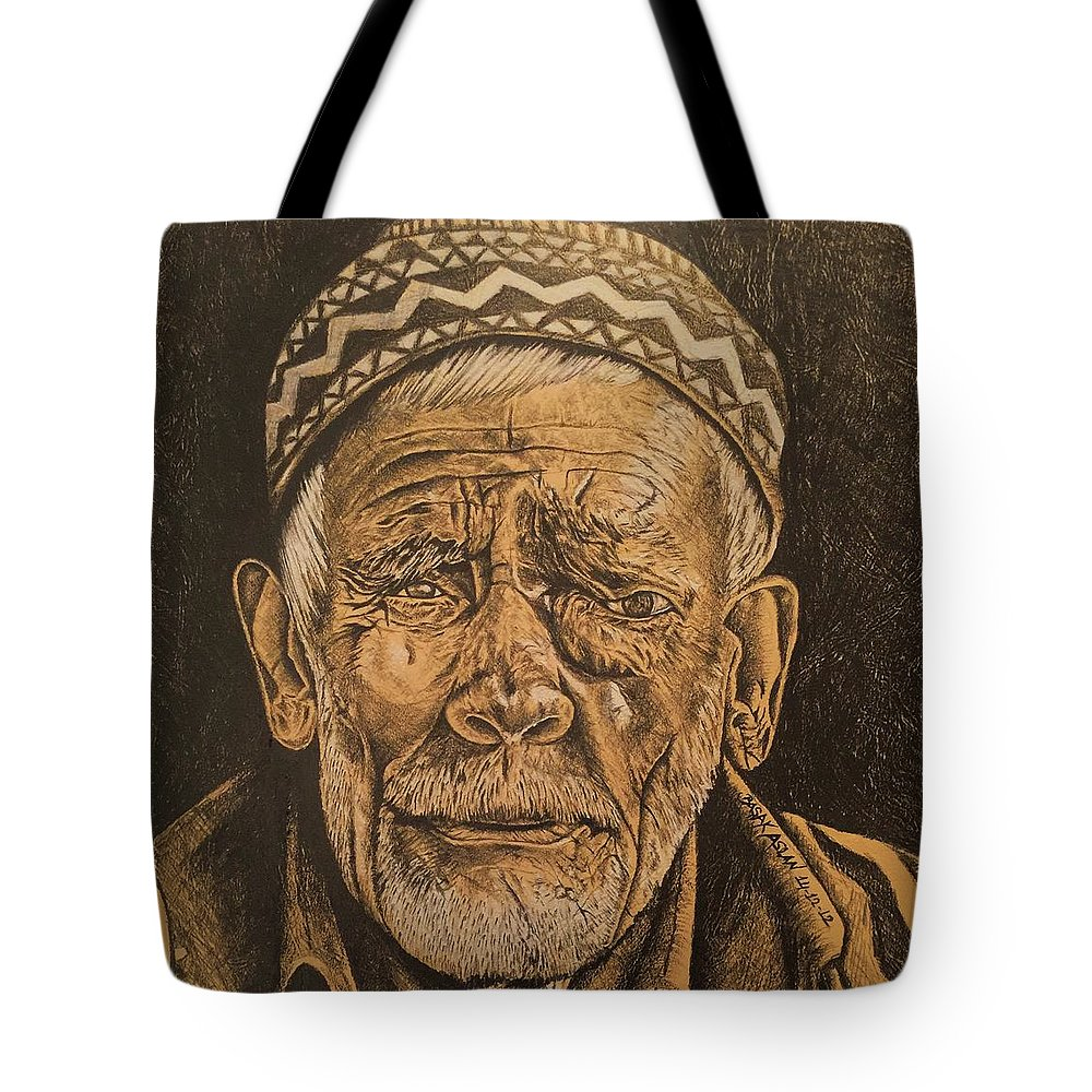 Charcoal Tote Bag featuring the drawing Dramatic by Basak Aslan