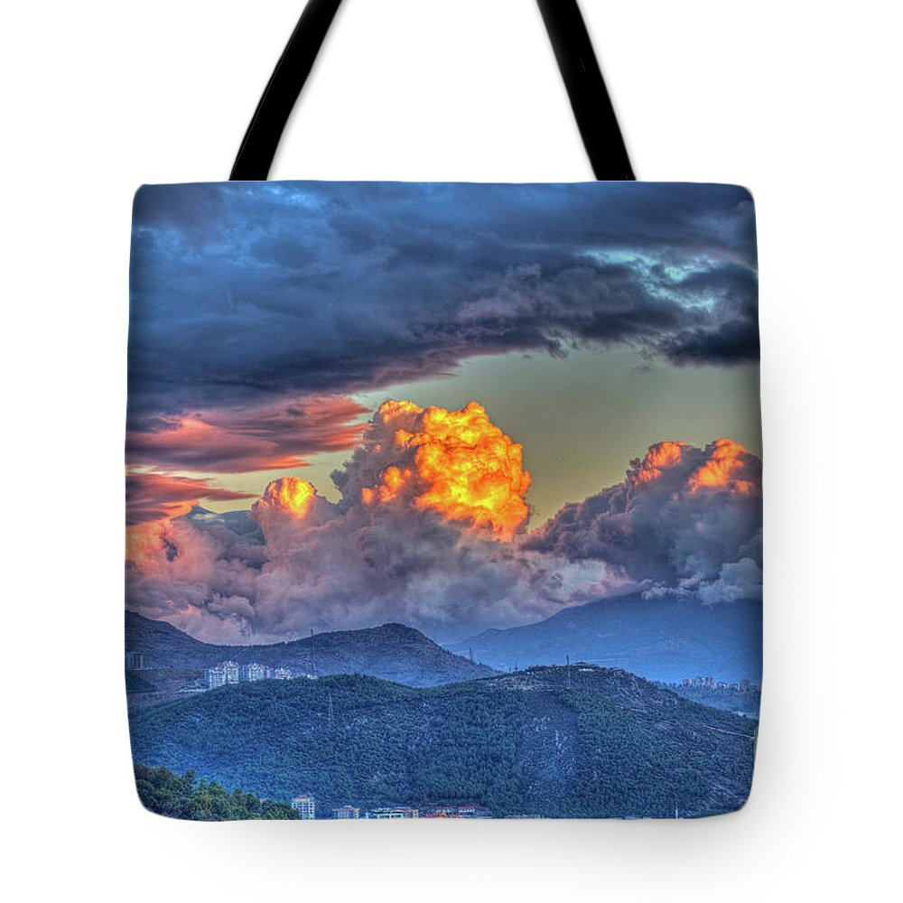 Dramatic Tote Bag featuring the photograph Dramatic Sky And Clouds by Dilsad Photography