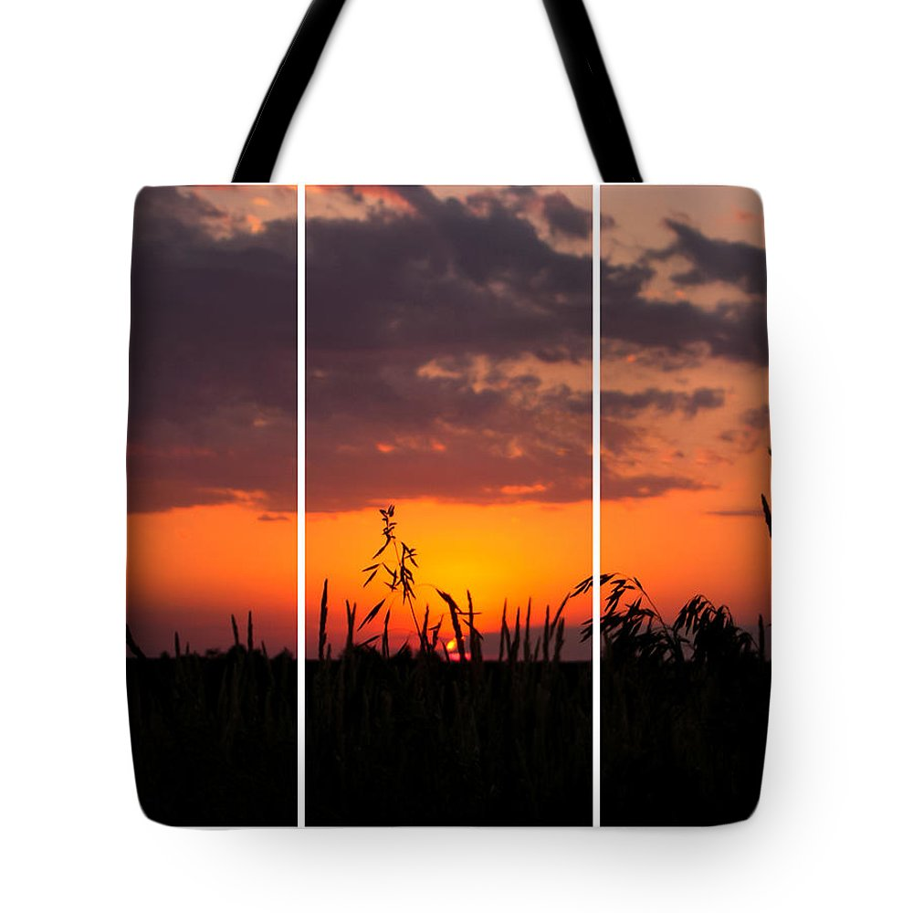 Dramatic Sunset Triptych Tote Bag featuring the photograph Dramatic Sunset Triptych by Cynthia Woods