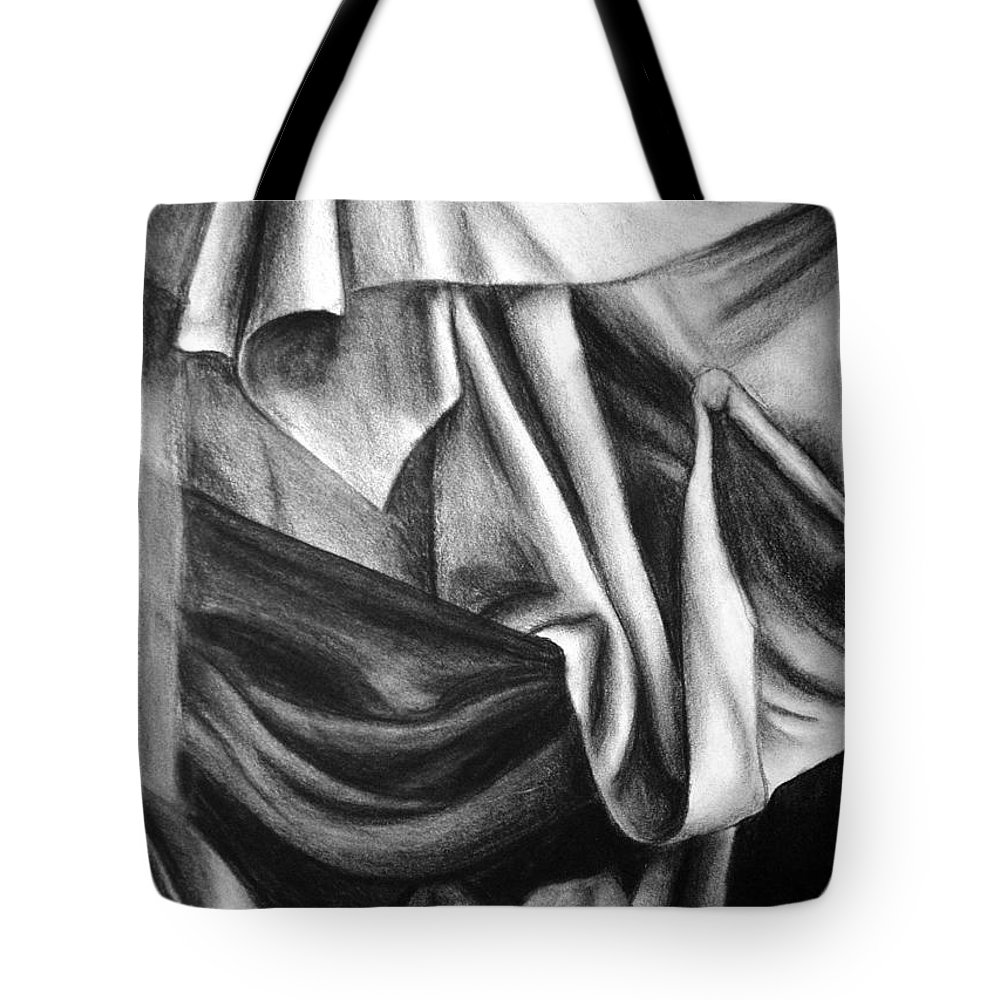 Charcoal Tote Bag featuring the drawing Drapery Still Life by Nancy Mueller