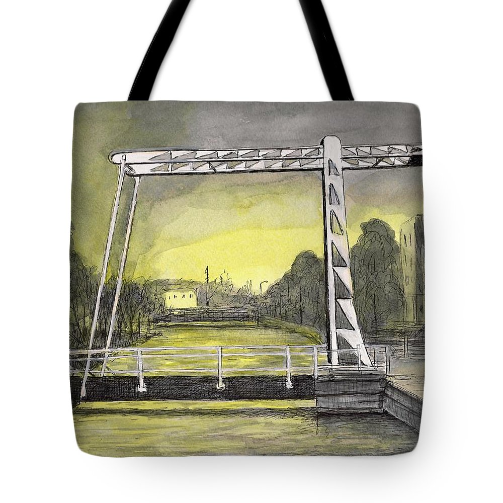 Holland Tote Bag featuring the painting Draw Bridge In Meppel, Holland 2016 by Arthur Barnes