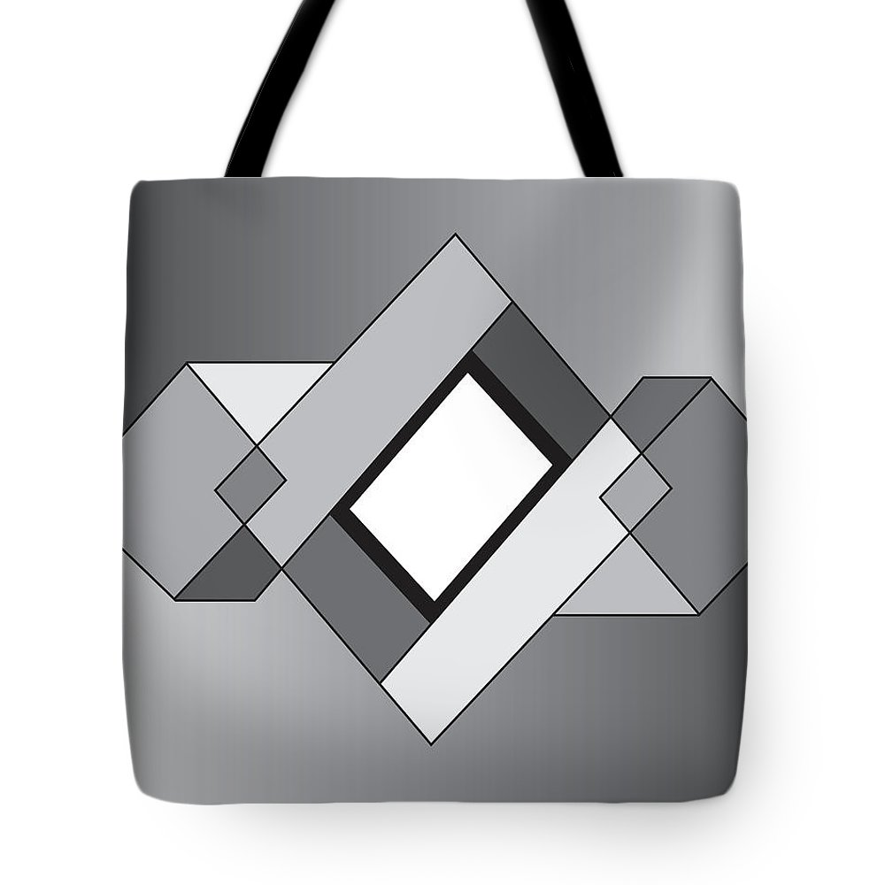 Illustration Tote Bag featuring the drawing Drawn2shapes10bnw by Maggie Mijares