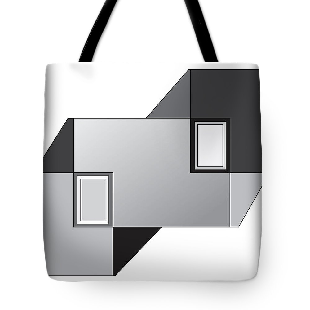 Illustration Tote Bag featuring the drawing Drawn2shapes11bnw by Maggie Mijares
