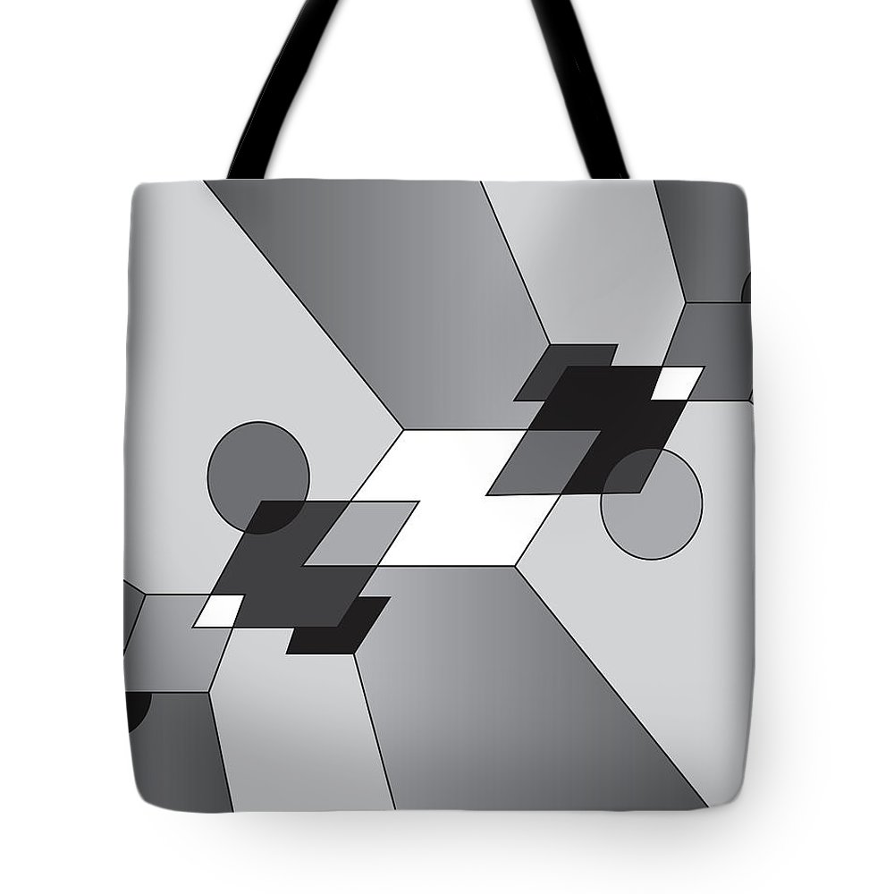 Illustration Tote Bag featuring the drawing Drawn2shapes12bnw by Maggie Mijares