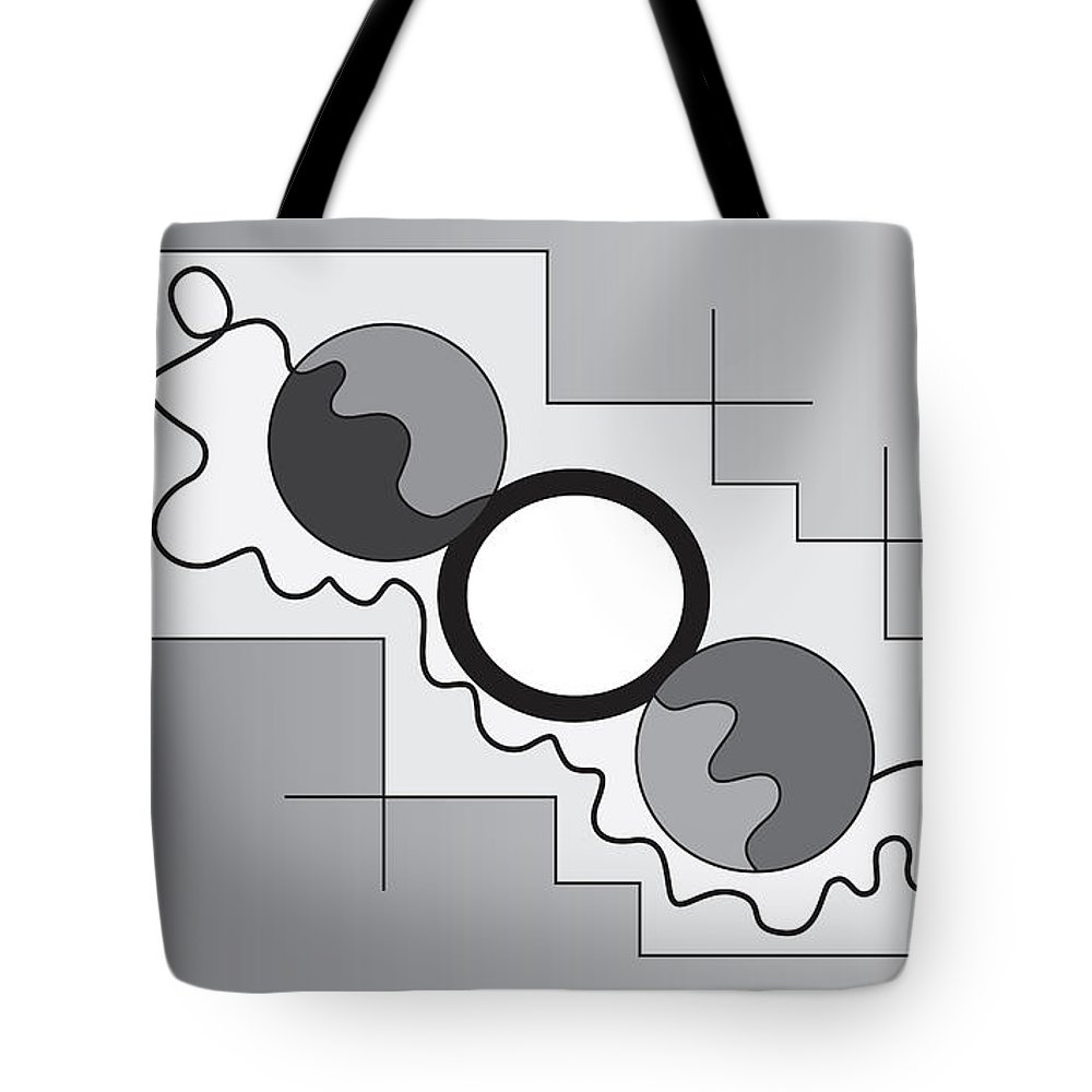 Illustration Tote Bag featuring the drawing Drawn2shapes3bnw by Maggie Mijares