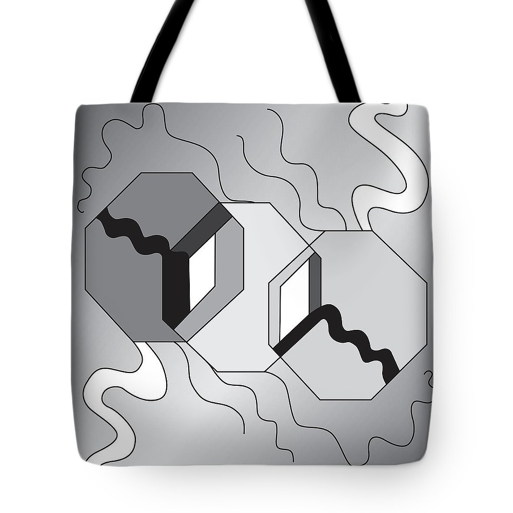 Illustration Tote Bag featuring the drawing Drawn2shapes7bnw by Maggie Mijares