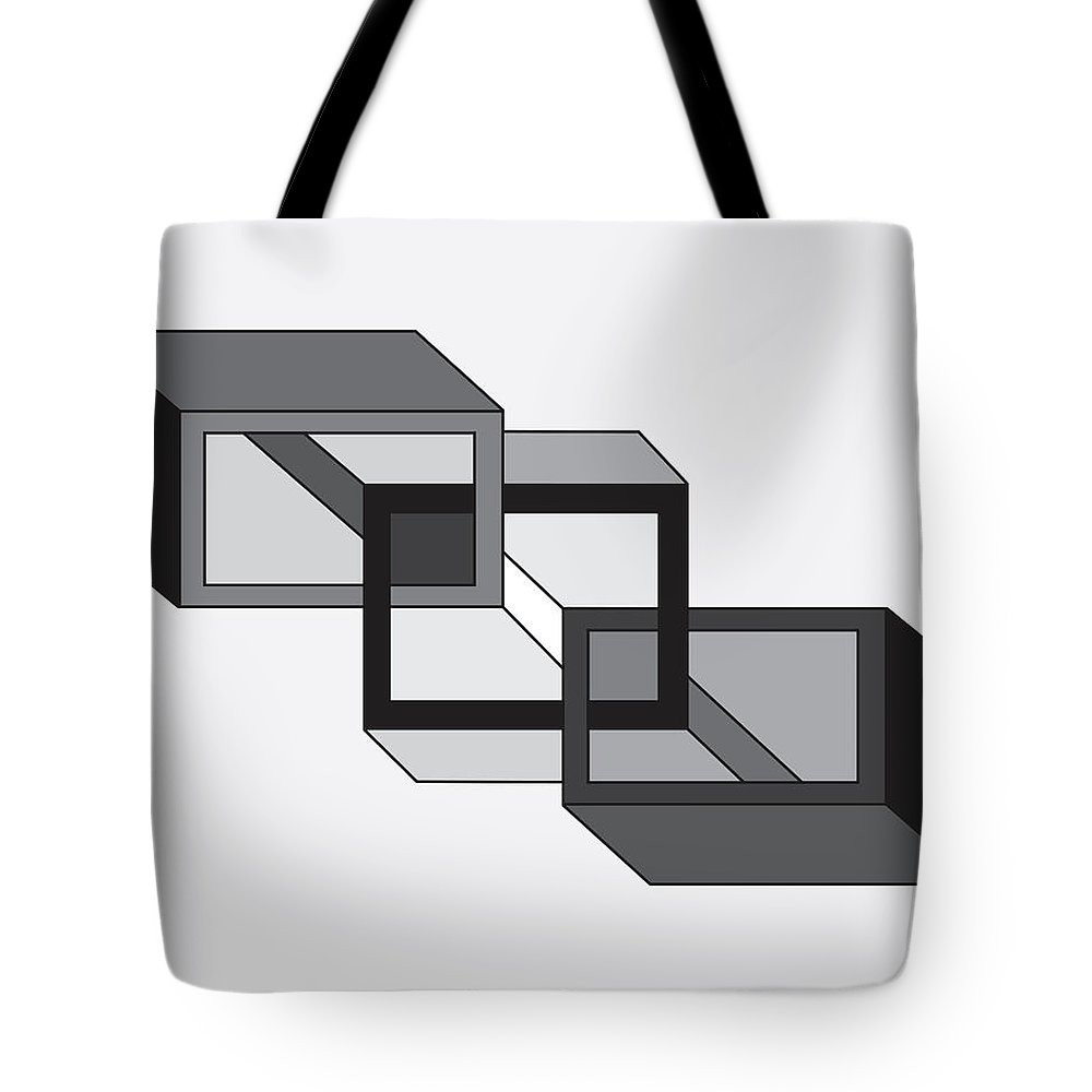 Illustration Tote Bag featuring the drawing Drawn2shapes8bnw by Maggie Mijares