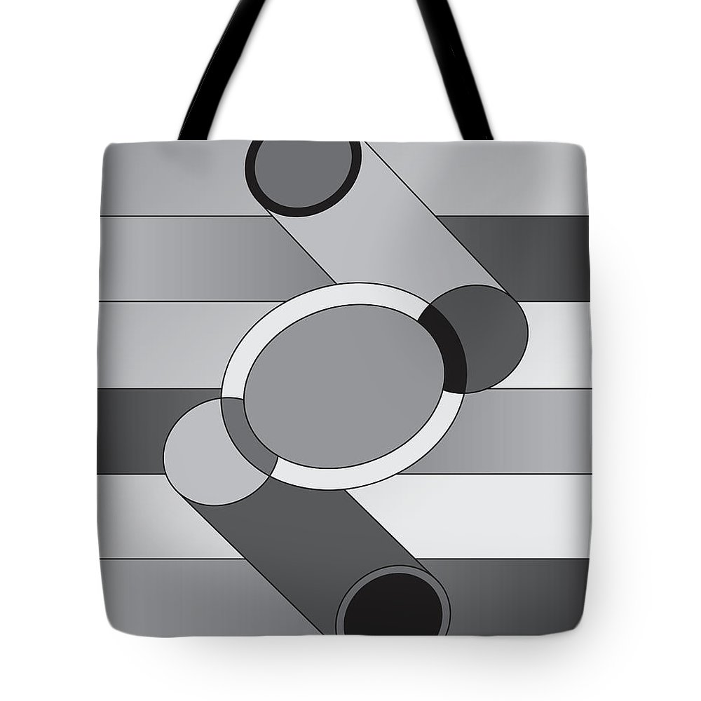 Illustration Tote Bag featuring the drawing Drawn2shapes9bnw by Maggie Mijares