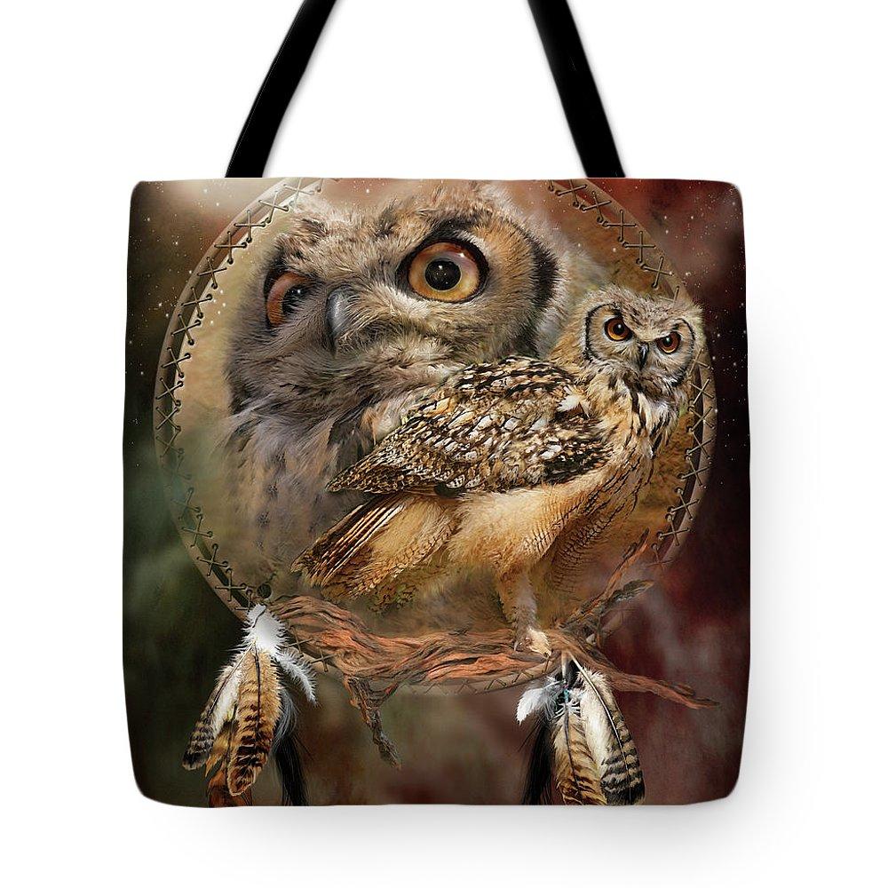 Carol Cavalaris Tote Bag featuring the mixed media Dream Catcher - Spirit Of The Owl by Carol Cavalaris