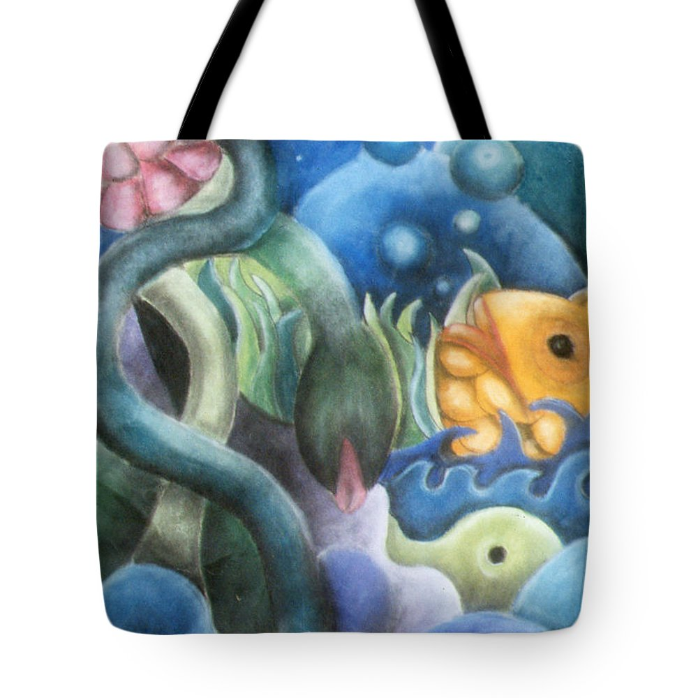 Fish Tote Bag featuring the pastel Dream Fish by Caroline Peacock