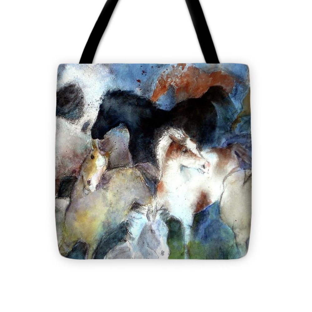 Horses Tote Bag featuring the painting Dream Of Wild Horses by Christie Michelsen