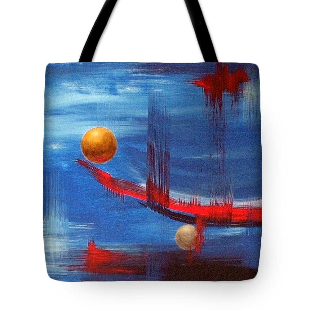 Abstract Art Tote Bag featuring the painting Dream Ship by Arturas Slapsys