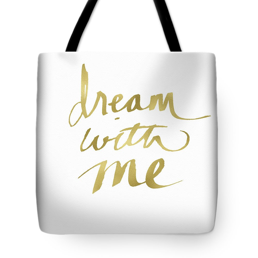 Dream Tote Bag featuring the painting Dream With Me Gold- Art By Linda Woods by Linda Woods