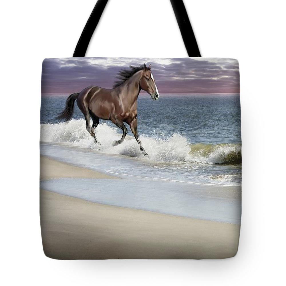 Landscape Tote Bag featuring the photograph Dreamer On The Beach by Barbara Hymer