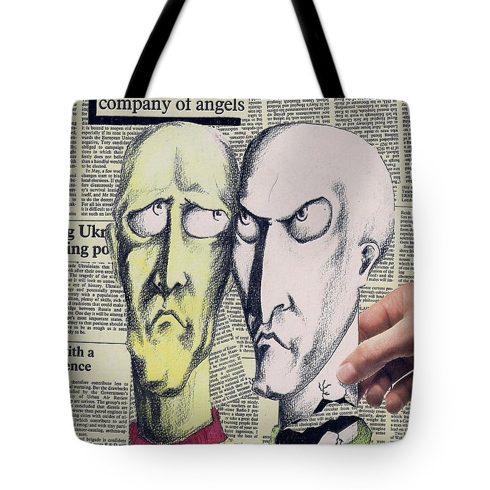 Dreamers Angels Faces Tote Bag featuring the mixed media Dreamers by Veronica Jackson