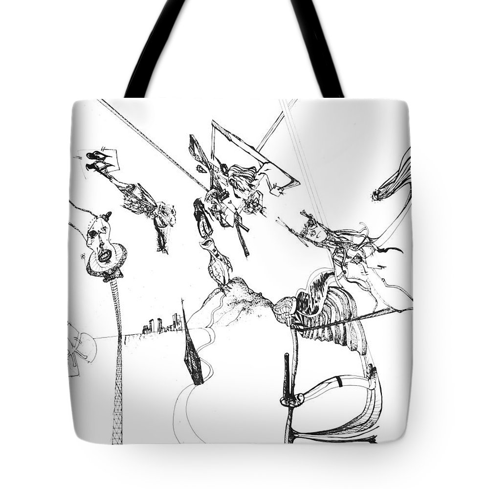 Pen Ink Tote Bag featuring the drawing Dreaming 1 by Michael Mooney