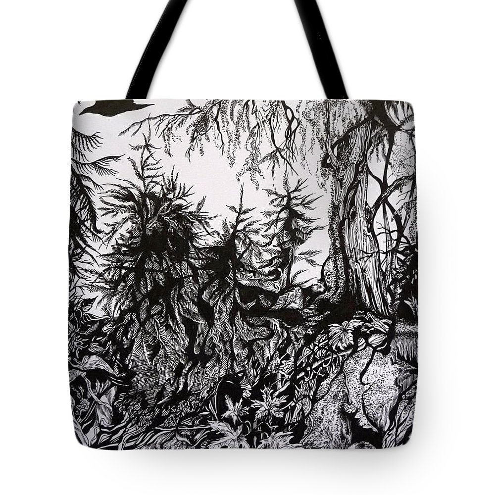 Pen And Ink Tote Bag featuring the drawing Dreaming Alaska.part One by Anna Duyunova