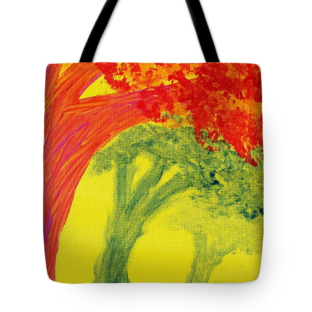 Orange Tote Bag featuring the painting Dreaming And Shadows by Laurette Escobar