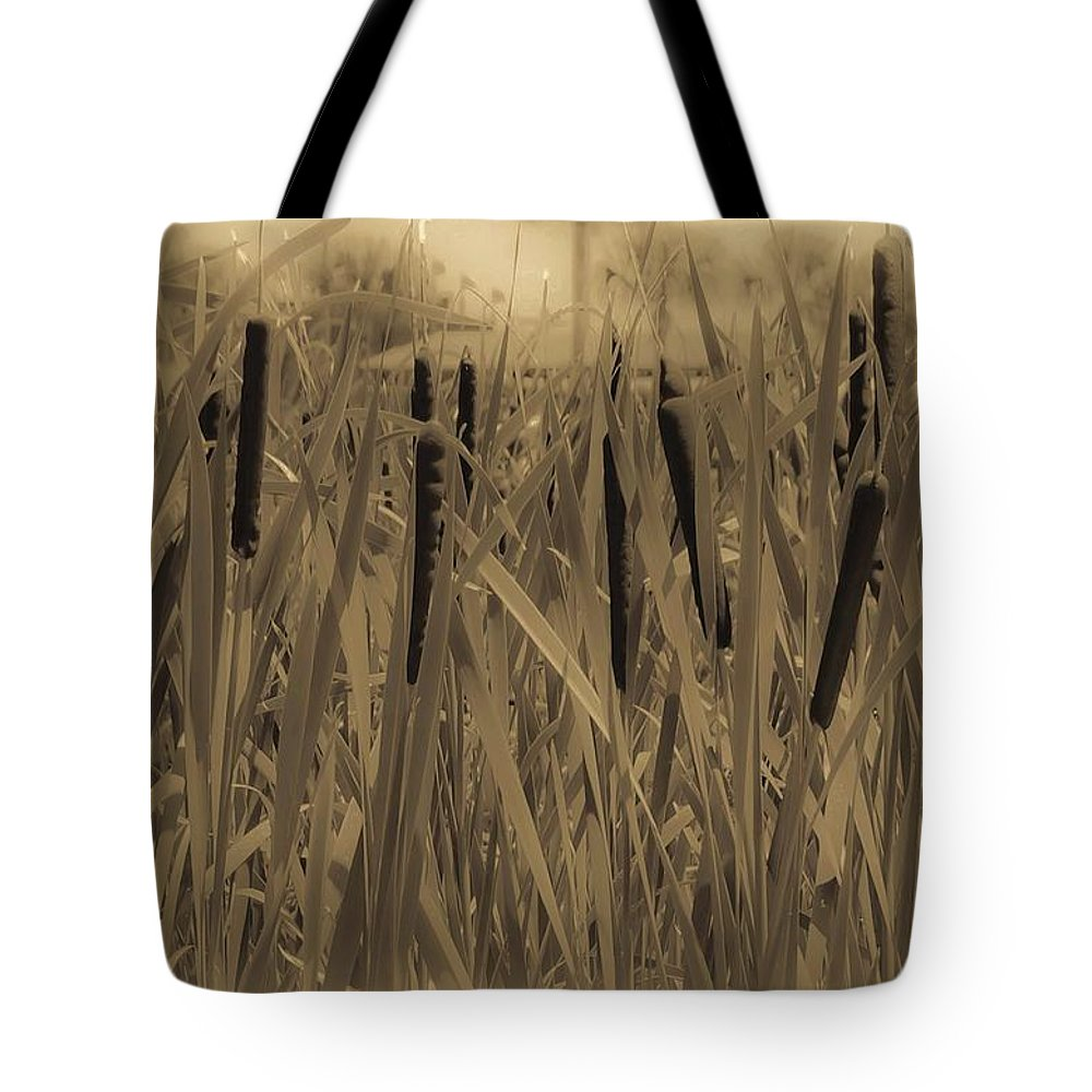 Cattails Tote Bag featuring the photograph Dreaming Of Cattails by DigiArt Diaries by Vicky B Fuller