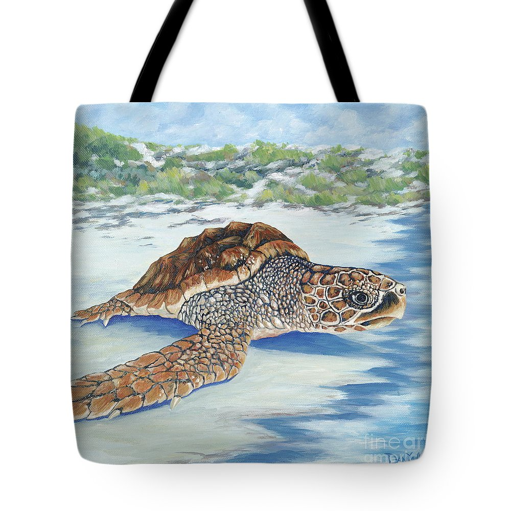 Sea Turtle Tote Bag featuring the painting Dreaming Of Islands by Danielle Perry