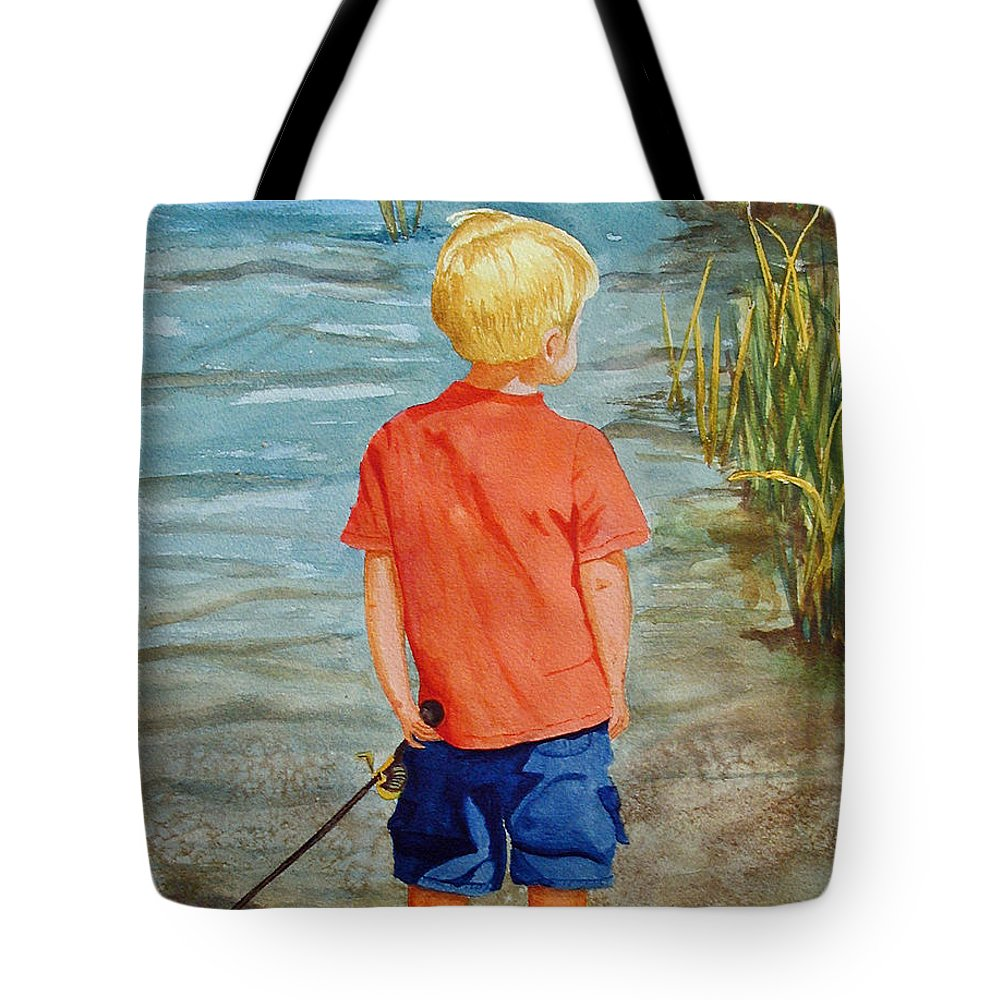 Fishing Tote Bag featuring the painting Dreaming Of The Big One by Anna Lohse