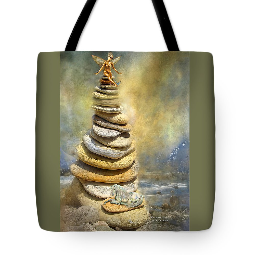 Fairy Tote Bag featuring the mixed media Dreaming Stones by Carol Cavalaris