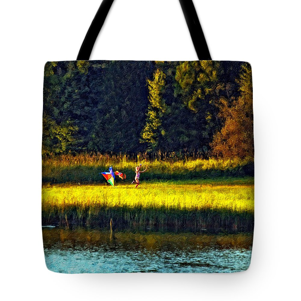 Kids Tote Bag featuring the photograph Dreams Can Fly Impasto by Steve Harrington