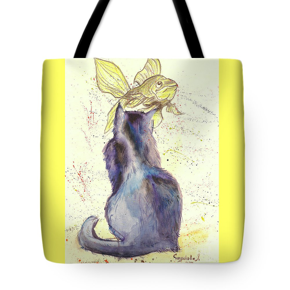 Cat Tote Bag featuring the painting Dreams by Yana Sadykova