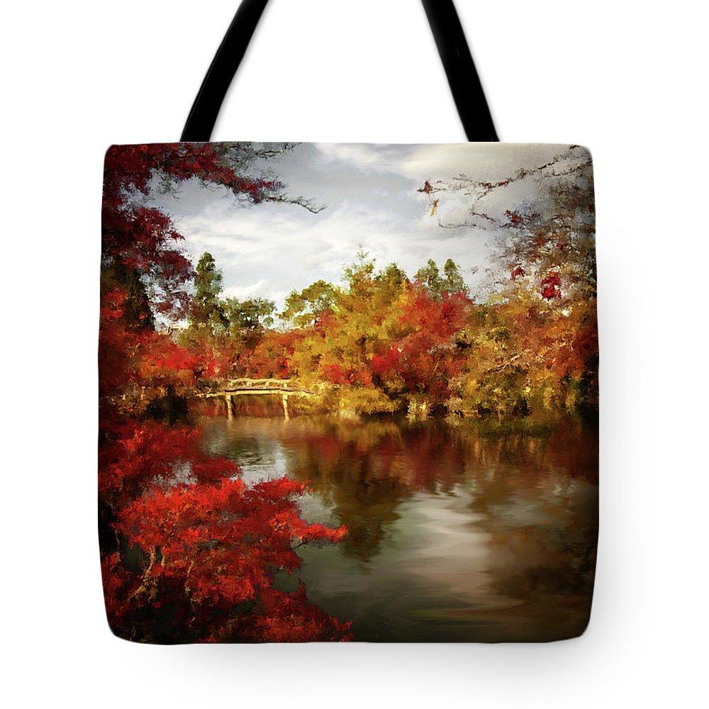Dreamy Autumn Impressionism Tote Bag featuring the painting Dreamy Autumn Impressionism by Georgiana Romanovna