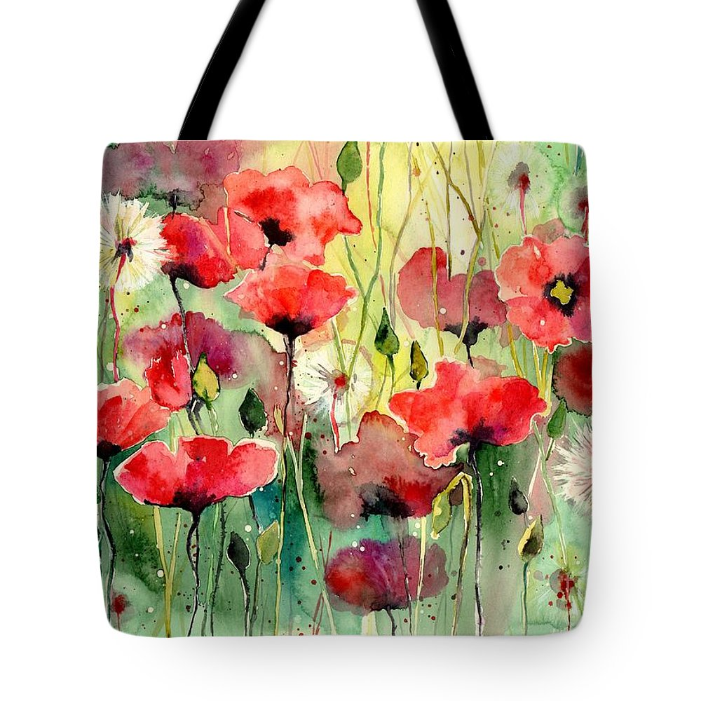 Red Tote Bag featuring the painting Dreamy Hot Summer Fields by Suzann Sines
