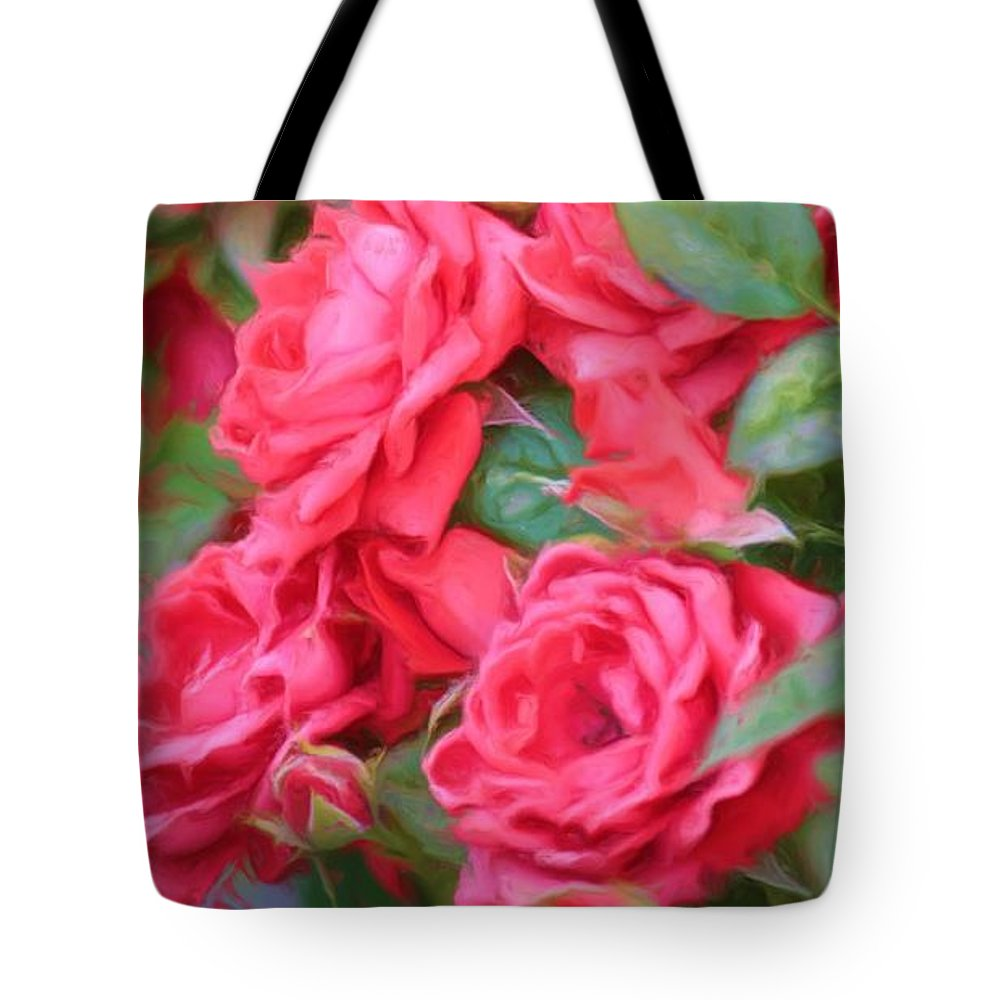 Floral Tote Bag featuring the photograph Dreamy Red Roses - Digital Art by Carol Groenen