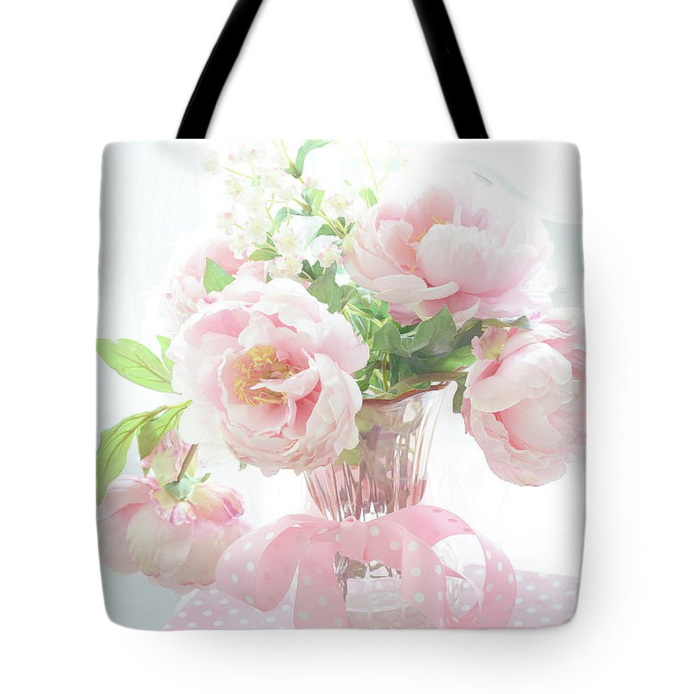 Dreamy shabby chic cottage pink peonies in vase romantic pink peonies floral bouquet tote bag paris peonies tote bag featuring the photograph dreamy shabby chic cottage pink peonies in vase izmirmasajfo