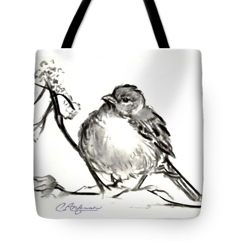 Pencil Drawings Tote Bag featuring the drawing Dregs Of Winter by Carol Allen Anfinsen