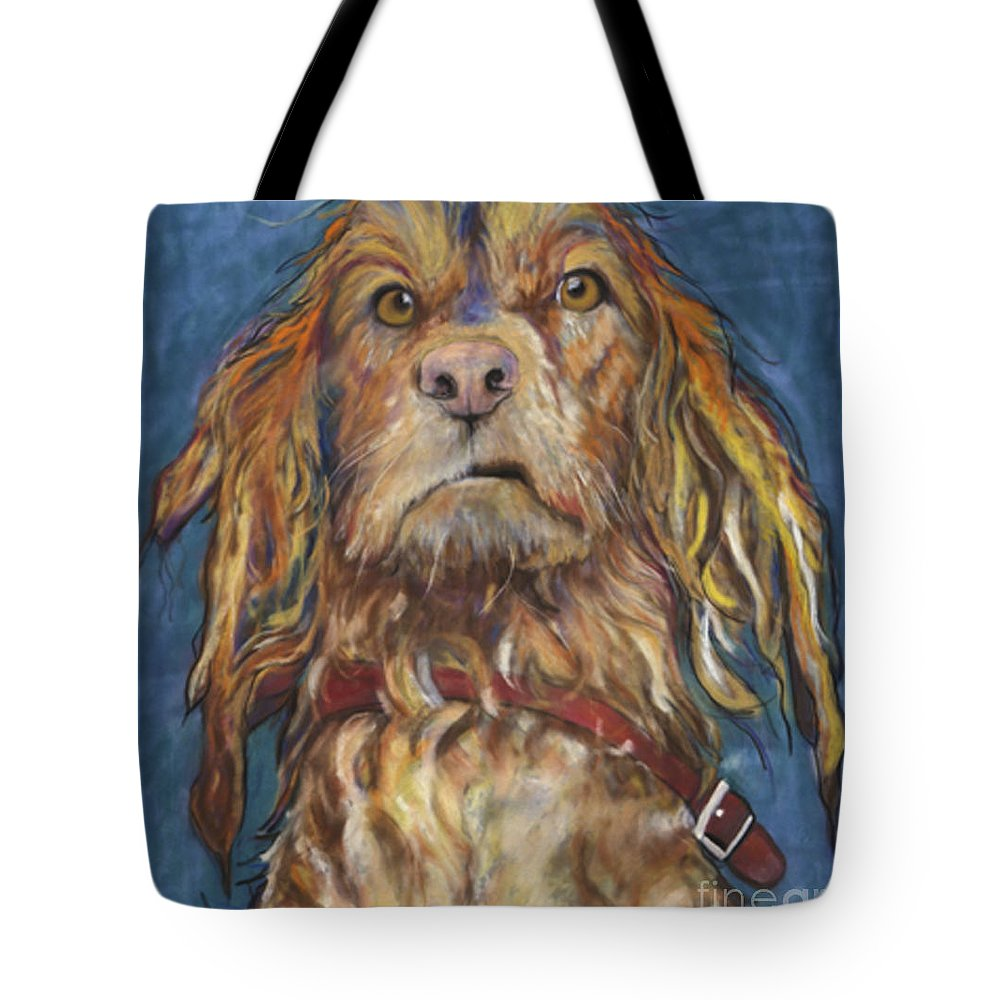 Golden Retriever Painting Tote Bag featuring the pastel Drenched by Pat Saunders-White