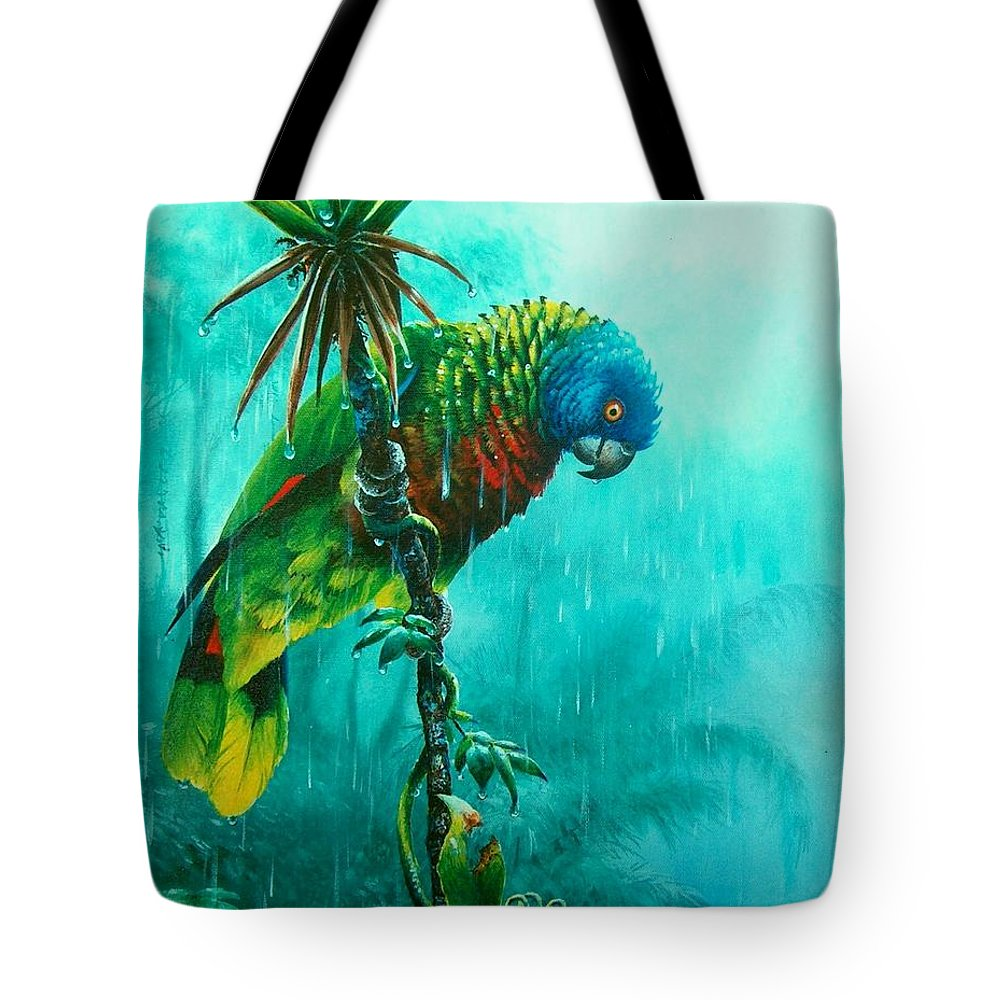 Chris Cox Tote Bag featuring the painting Drenched - St. Lucia Parrot by Christopher Cox