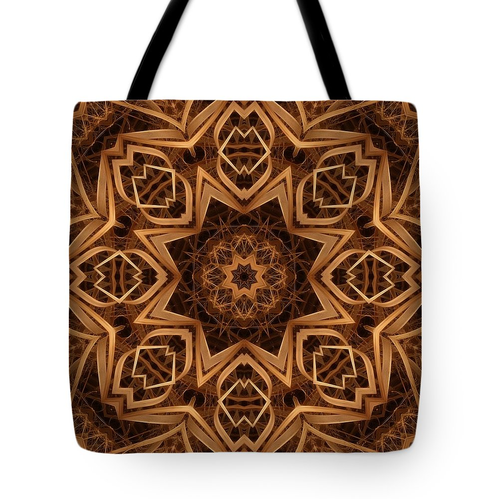 Kaleidoscope Tote Bag featuring the digital art Dried Grass Mandala by Lyle Hatch