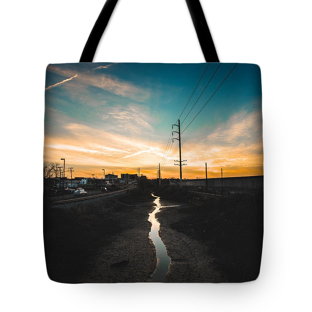 Flood Wall Tote Bag featuring the photograph Dried Up by Chris Marcussen