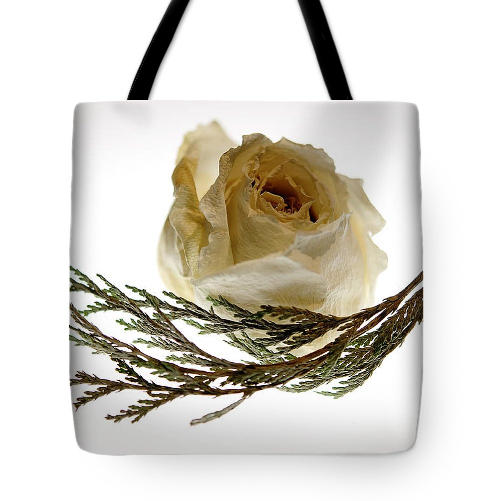 Rose Tote Bag featuring the photograph Dried White Rose by Lois Bryan